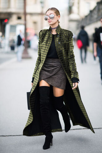 shoes velvet over the knee boots tumblr boots black boots high heels boots over the knee boots skirt mini skirt grey skirt wrap skirt asymmetrical asymmetrical skirt sweater black sweater coat grey coat printed coat long coat hailey baldwin model model off-duty jewels necklace choker necklace grey jewelry