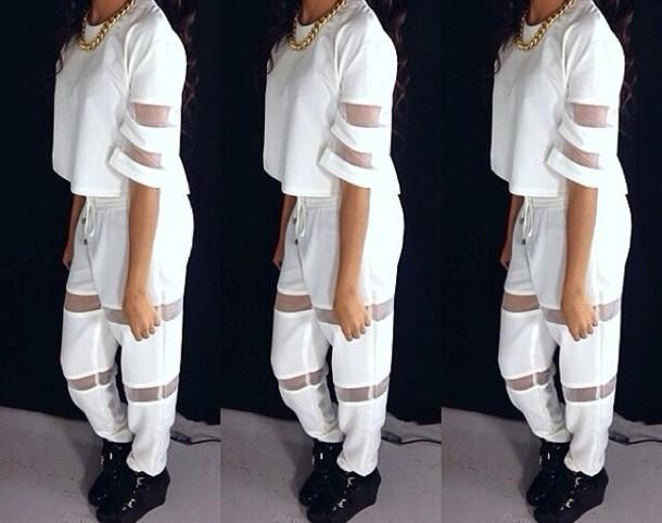 blouse white loose see through see through drawstring drawstring cocaine instagram atlanta dope dope pretty classy pants