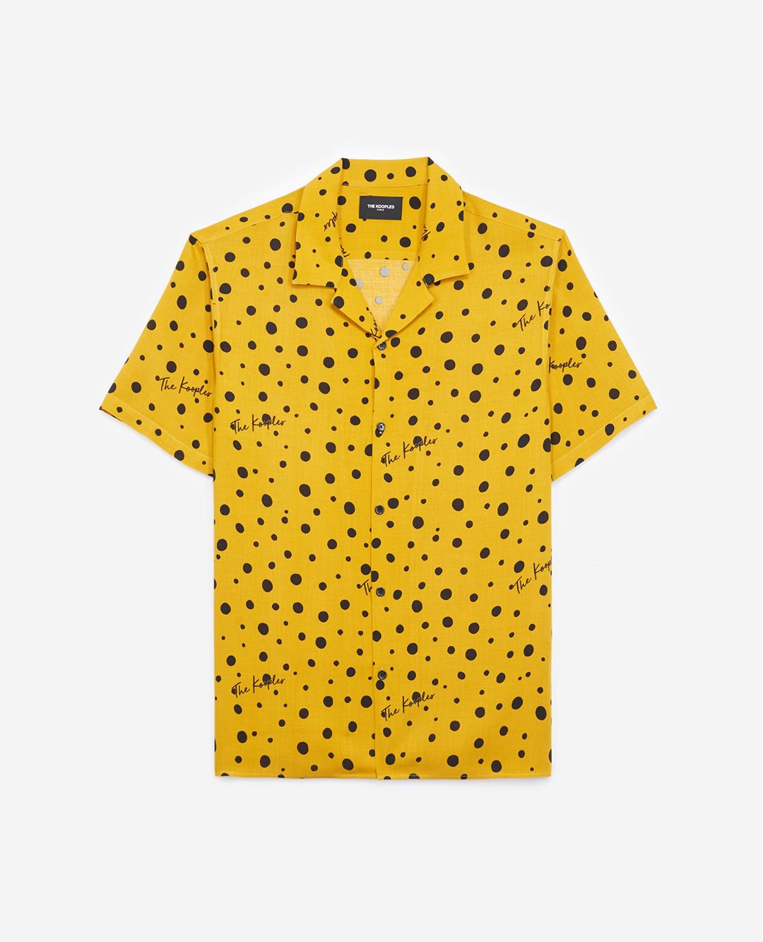 The Kooples - Printed yellow shirt with short sleeves - MEN