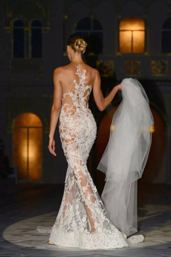 dress white gown lace wedding dress formal dress bride bridal gown fashion designer