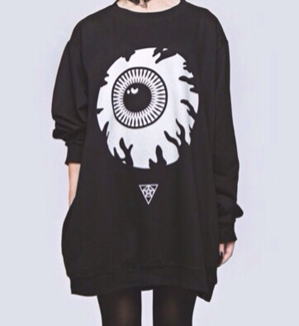 sweater black white kawaii cute goth pastel goth dark kawaii dark eyes