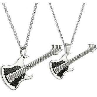 jewels black guitar titanium steel necklaces for couple evolees.com women jewelry necklace guitar necklace for lovers fashion jewelry fashion