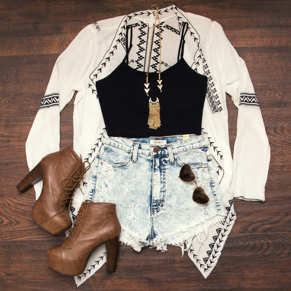 cardigan summer cardigan platform booties black crop top High waisted shorts High waisted shorts shoes shorts shirt jewels glasses collier jacket top summer outfits girly fashion blouse sunglasses summer white black crop tops tank top necklace heels crop tops