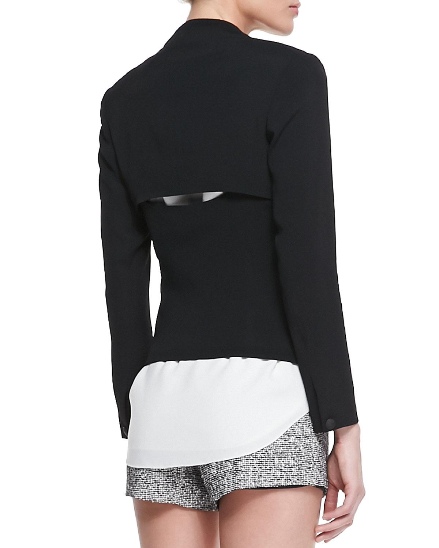 Teresa Peekaboo-Back Blazer, Chieftain Leather-Trim Racerback & Florence High-Waist Tweed Shorts