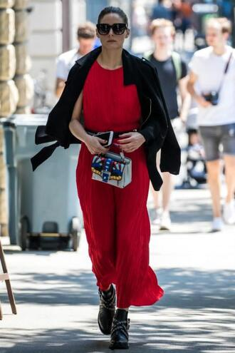 dress maxi dress jacket red dress red olivia palermo blogger streetstyle