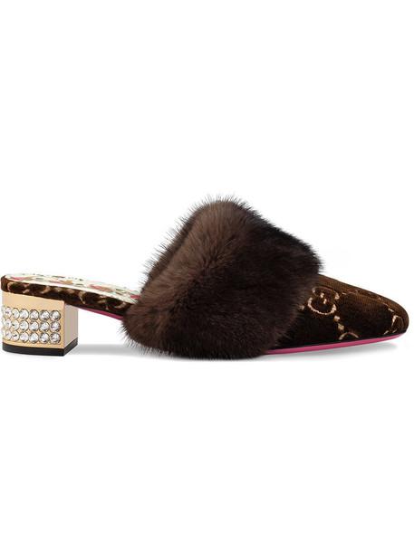 gucci fur women leather velvet brown shoes