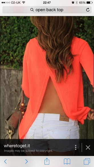 sweater open back neon orange backless sweater