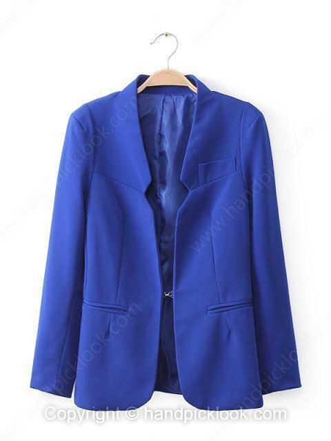Royal Blue Long Sleeve Pockets Blazer - HandpickLook.com