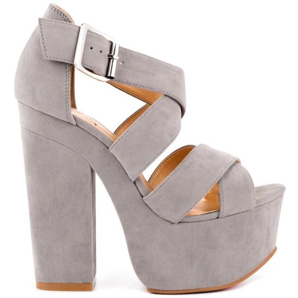 Shoes: light, grey, heels, chunky - Wheretoget