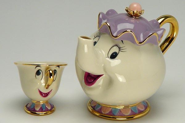 Disney Beauty and The Beast Tea Pot & Cup Tea set Mrs. Pot and Chip