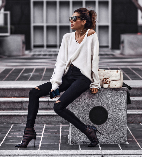 fashionedchic blogger top jeans shoes bag jewels gucci bag white bag ankle boots black pants black skinny jeans white sweater