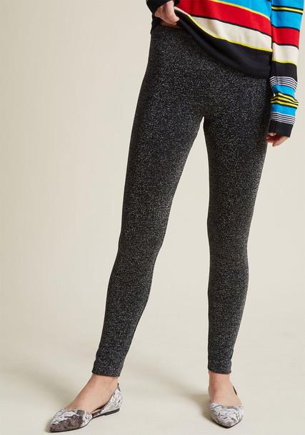 Modcloth leggings sparkle silver metallic pants