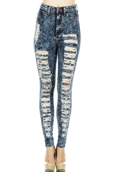 Vibrant miu distressed side denim jeans