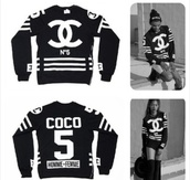 sweater,chanel,black and white,menswear,for women,n°5,chanel tracksuit,tracksuit,blouse,chanel sweater,coco sweater chanel purse,coco chanel sweater