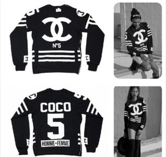sweater chanel streetstyle hood by air jacket black and white menswear for women n°5 chanel tracksuit tracksuit t-shirt bag black 55 on it chanel sweater coco sweater chanel purse coco chanel sweater
