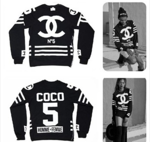 sweater chanel black and white menswear for women n 5 chanel sweater coco sweater chanel. Black Bedroom Furniture Sets. Home Design Ideas