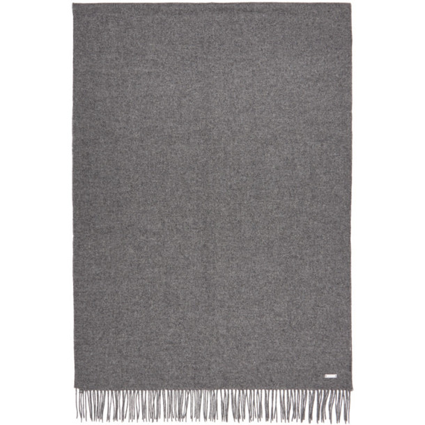 Boss Grey Oversized Lambswool Scarf