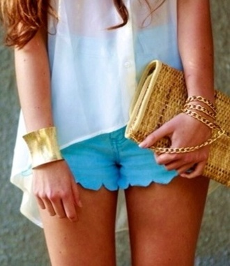 shorts blue scalloped