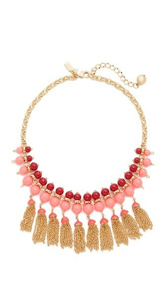 tassel necklace pink jewels