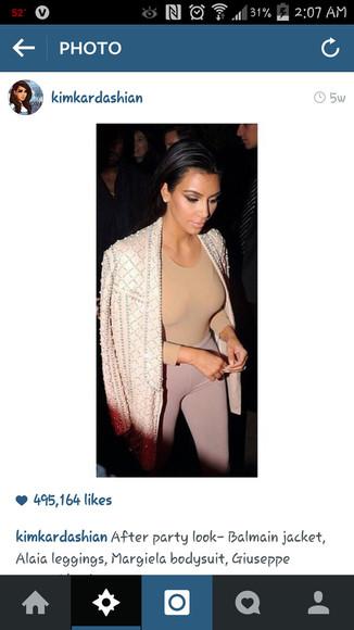 jumpsuit blouse kim kardashian outfit something similliar? something similar same color tights