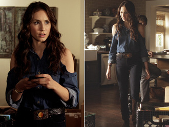 blue blouse blouse spencer hastings pretty little liars black denim jeans troian bellisario denim blouse blue off the shoulder open shoulder cold shoulder blouse pll spencer shirt denim jacket long sleeves cut offs cute cut-out shoulder top
