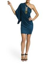 dress,short dress,aqua,teal,turquiose,one shoulder,off the shoulder,half sleeve,loose sleeve,ruched