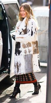coat,hilary duff,fur,fur coat,booties