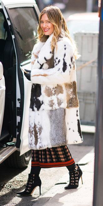 coat hilary duff fur fur coat booties