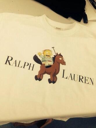 t-shirt ralph lauren white funny quote quote on it shirt the simpsons fake polo