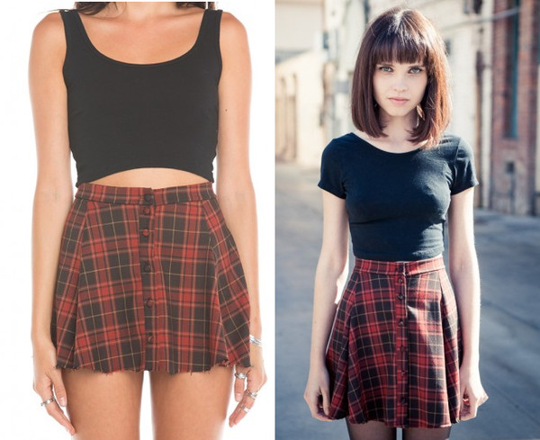 skirt high waisted skirt cute pretty brandy melville plaid circle skirt shirt miniskirt tartan red button up