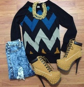 shoes,timberlands,high heels,sweater,jewels,shorts