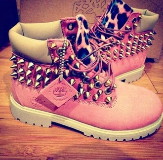shoes boots pink leopard print spikes spiked shoes white leopard timberlands timberland timberland boots shoes hair accessory