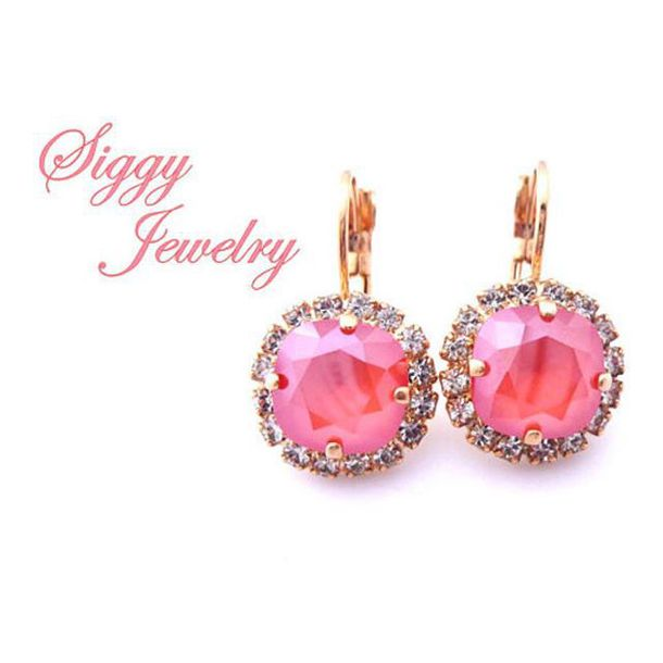 jewels siggy jewelry coral earrings rose gold peach pink bridesmaids gift drop earring halo earrings lever back earrings gift ideas wedding summer wedding beach wedding coral jewelry fashion jewelry fashion style bling sparkle glamour etsy swarovski