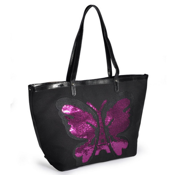 bag black bag handbag sequins butterflies