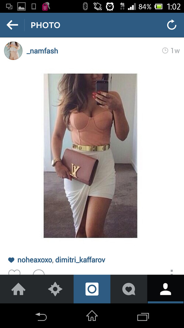 bag blush clutch louis vuitton skirt t-shirt belt