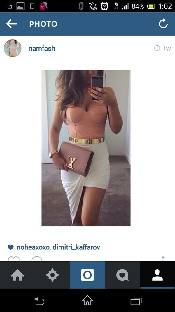 bag blush clutch louis vuitton skirt t-shirt belt