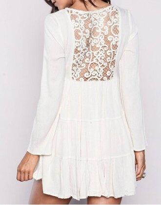 dress white lace fashion style summer trendy cute girly see through embroidered long sleeves romantic elegant adorable outfit clothes