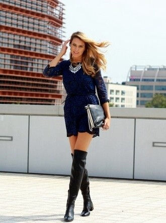shoes blue dress silver necklace black knee high boots black purse blogger