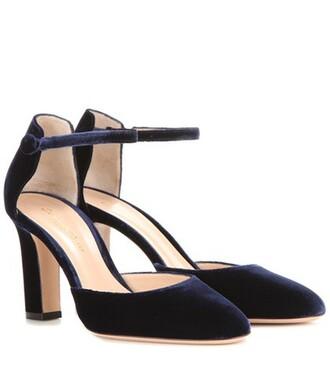pumps velvet blue shoes