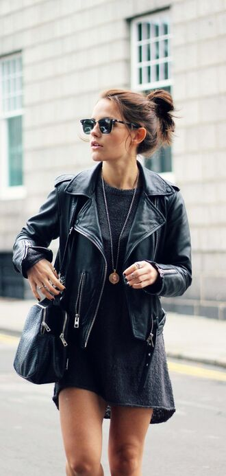 dress leather jacket black black dress model streetstyle street bag black bag sunglasses wool necklace
