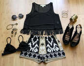 jewels,underwear,shoes,tank top,pants,tribal pattern,tribal high waist shorts,shorts,aztec short