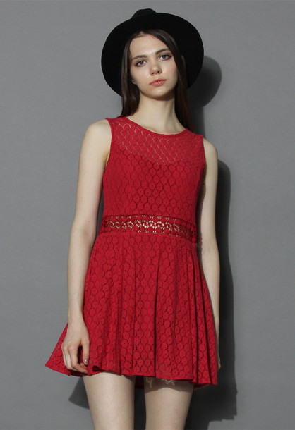 e7158c6894 dress daisy lacey skater dress in ruby chicwish lace dress ruby dress  summer dress red dress