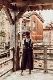 seams for a desire,blogger,coat,jumpsuit,blouse,shoes,hat,jewels,bag,spring outfits,black jumpsuit,ruffle blouse,ankle boots