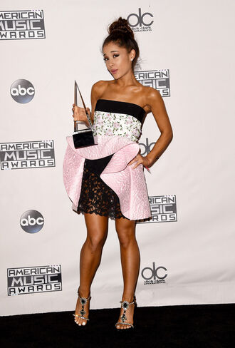 dress mini dress asymmetrical dress sandals ariana grande strapless strapless dress lace dress amas 2015