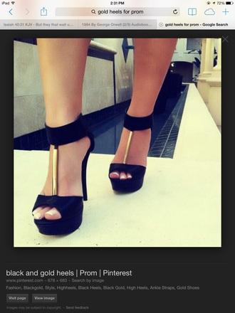 shoes black gold heels high heels cute high heels high heel sandals