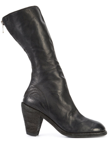 zip horse women boots leather black shoes