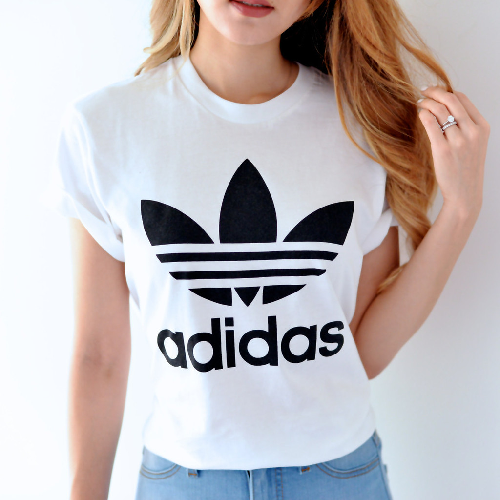 Adidas bf fit white trefoil tee for Adidas trefoil t shirt