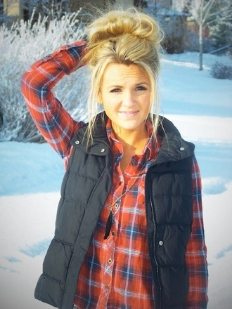 jacket puffy vest snow blonde hair girl flannel vest clothes winter outfits red flannel shirt coat
