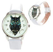 jewels,watch,leather watch,white,owl,owl watch,unique watch,unusual watch,designer watch,ziziztime,ziz watch