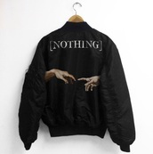 jacket,blvck,tumblr,black,supreme,stussy,bomber jacket,huf,hood by air,yeezus,nothing,clothes,black bomber jacket,black jacket,the creation of adam,bumper,pale grunge,print,creation of adam,nothing hands,ma-1,ma1 bomber jacket,ma1 flight jacket,art windbreaker nothing,coat